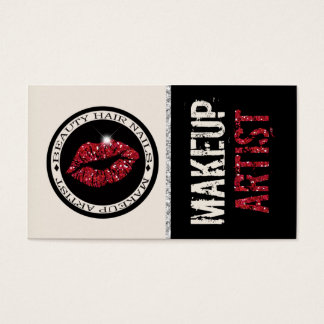 Roter Glitzer-Lippenmake-upkünstler: Visitenkarte