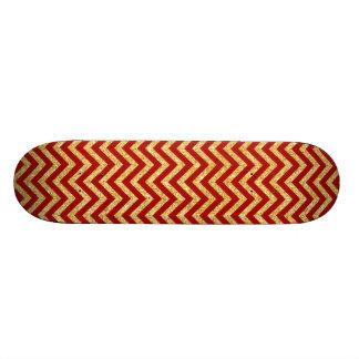 Roter GoldGlitter-Zickzack Stripes Zickzack Muster 18,7 Cm Mini Skateboard Deck