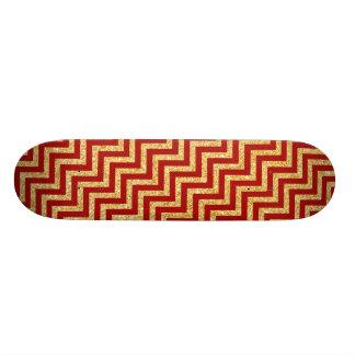Roter GoldGlitter-Zickzack Stripes Zickzack Muster 21,6 Cm Skateboard Deck