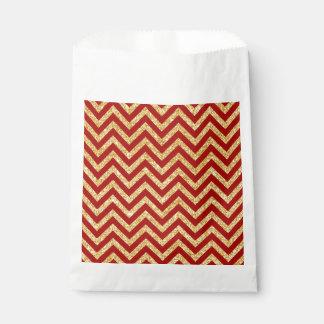 Roter GoldGlitter-Zickzack Stripes Zickzack Muster Geschenktütchen