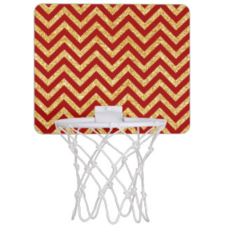 Roter GoldGlitter-Zickzack Stripes Zickzack Muster Mini Basketball Netz