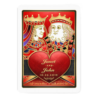 Roter Goldkönig Queen Vegas zusammen mit laden ein 12,7 X 17,8 Cm Einladungskarte