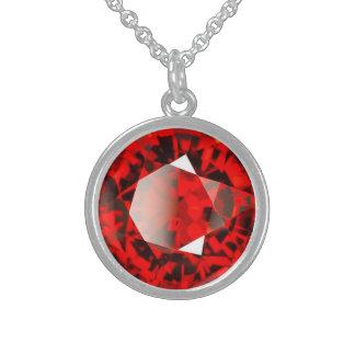 Roter Granats-Edelstein Januar Birthstone Sterling Silberkette