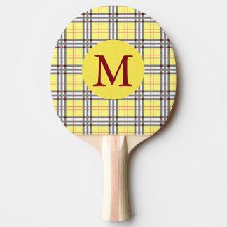 Roter, grauer und gelber schottischer Tartan Tischtennis Schläger