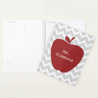 Roter grauer Zickzack Lehrer-Planer Apples Planer