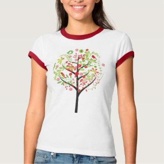 Roter grüner Baum und niedlicher Vogel-T - Shirt