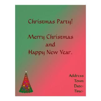 Roter grüner fröhlicher Weihnachtsbaum Flyer