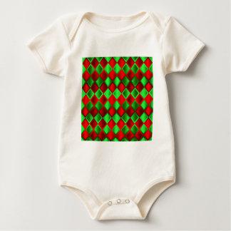 Roter grüner Steppdecken-Harlekin Baby Strampler