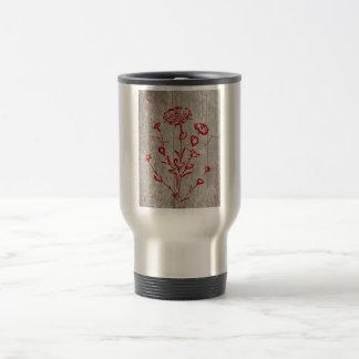 Roter Grunge-mittelalterliche Blumen-Kunst Reisebecher