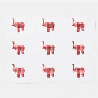 Roter Hahnentrittmuster-Elefant Kinderwagendecke
