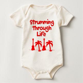 Roter Hawaain Ukulele Uke tropischer Baby Strampler