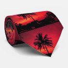 Roter hawaiischer Sonnenuntergang-exotische Palmen Krawatte