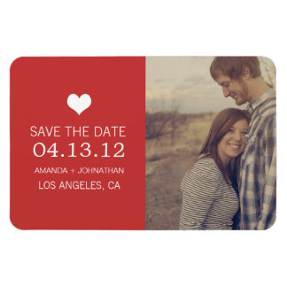 Roter Herz-Foto-Save the Date Magnet