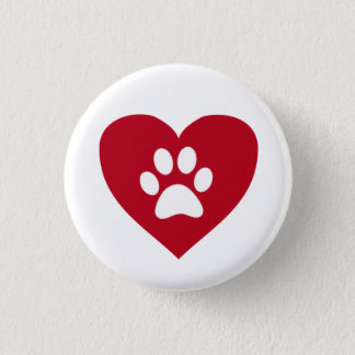 Roter Herz-Tatzen-Druck-Knopf Runder Button 3,2 Cm