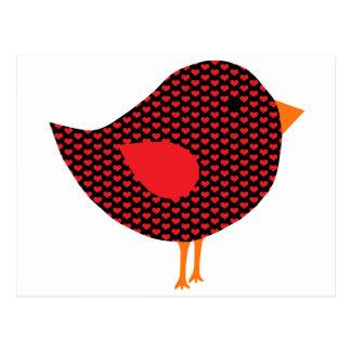 Roter Herz-Vogel Postkarten