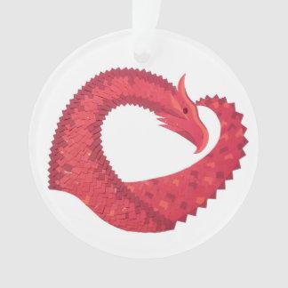 Roter Herzdrache auf Weiß Ornament