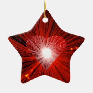Roter Herzverzierungsstern Keramik Ornament