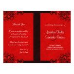 Roter Hibiskus-Blumenhochzeits-Programm-Vorlagen Vollfarbige Flyer