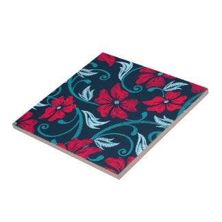 Roter Hibiskus Druckstickerei Keramikfliese