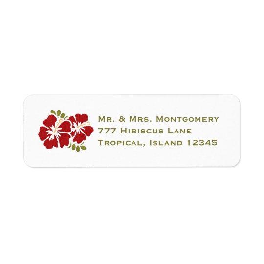 Roter Hibiskus-Rücksendeadressen-Aufkleber kundens Rücksendeetiketten