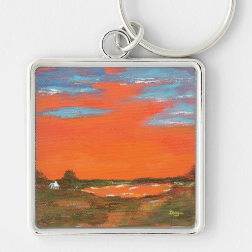 Roter Himmel an der Nachtabstrakte Malerei-Schlüss Schlüsselanhänger