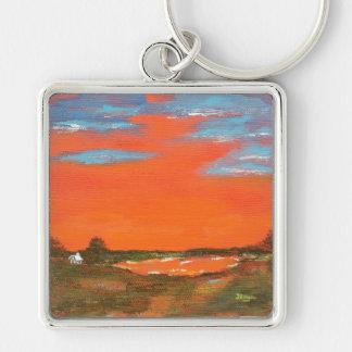 Roter Himmel an der Nachtabstrakte Malerei-Schlüss Silberfarbener Quadratischer Schlüsselanhänger