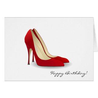 Roter hoher Heels-Geburtstag Karte