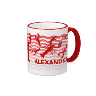 Roter Hummer in den roten Wellen Tee Haferl