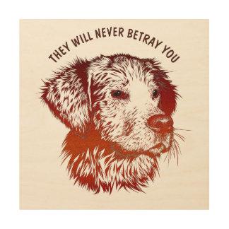 Roter Hund mit dem Brown-Augen-Zeichnen und Ihrem Holzdruck