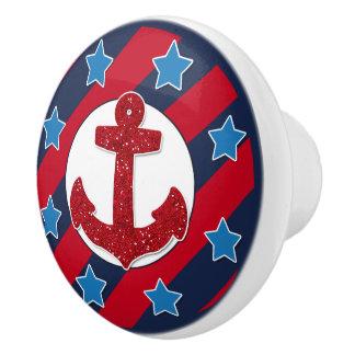 Roter Imitat-Glitter-Anker | nautisch Keramikknauf