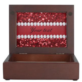 Roter Imitat-Glitter und Diamanten Erinnerungsdose
