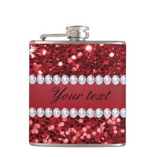 Roter Imitat-Glitter und Diamanten Flachmann