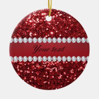 Roter Imitat-Glitter und Diamanten Keramik Ornament