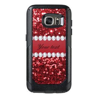 Roter Imitat-Glitter und Diamanten OtterBox Samsung Galaxy S7 Hülle