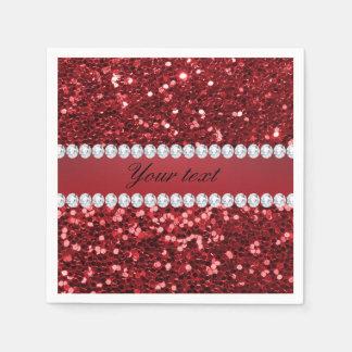Roter Imitat-Glitter und Diamanten Papierservietten