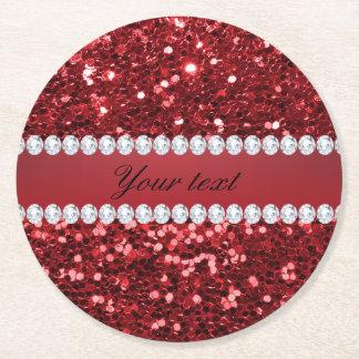 Roter Imitat-Glitter und Diamanten Runder Pappuntersetzer