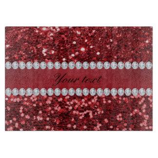 Roter Imitat-Glitter und Diamanten Schneidebrett