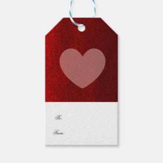 Roter Imitat-Glitzer mit erröten Herz Geschenkanhänger