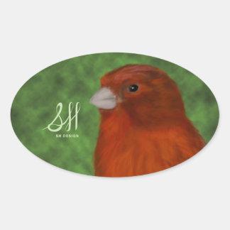 Roter Kanarienvogel Ovaler Aufkleber