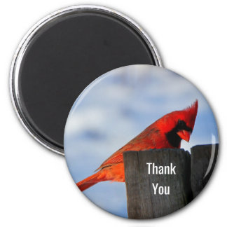 Roter Kardinal auf hölzernem Stumpf danken Ihnen Runder Magnet 5,7 Cm
