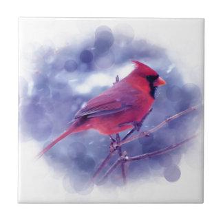 Roter Kardinal im Blizzard Fliese