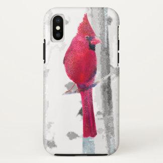 Roter Kardinals-Vogel im schönen schneebedeckten iPhone X Hülle