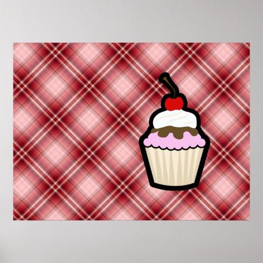 Roter karierter kleiner Kuchen Plakat