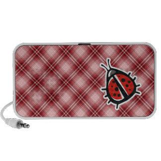 Roter karierter niedlicher Marienkäfer Laptop Lautsprecher