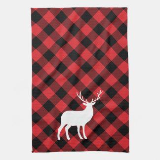 Roter karierter und weißer Feiertag des Hirsch-| Küchentuch