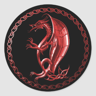Roter keltischer Drache-Aufkleber Runder Aufkleber