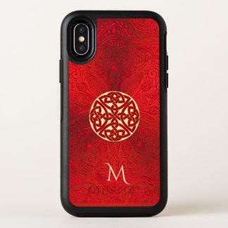 Roter keltischer Knoten-Mandala-Monogramm Otterbox OtterBox Symmetry iPhone X Hülle