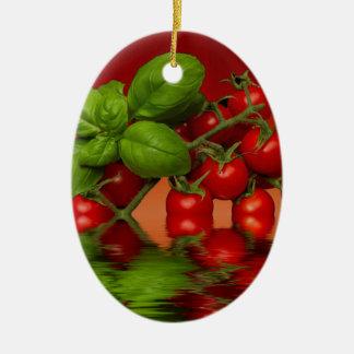 Roter Kirschtomate-Basilikum Keramik Ornament
