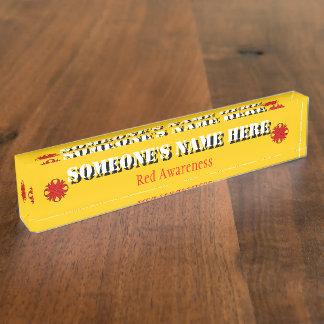 Roter Klee-Band Schreibtischplakette