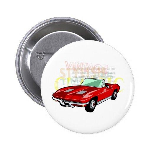 Roter KorvetteStingray oder Sting-Strahlnsportauto Buttons